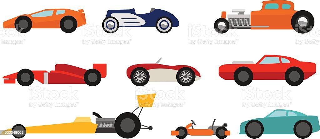Flat style race cars set vector art illustration