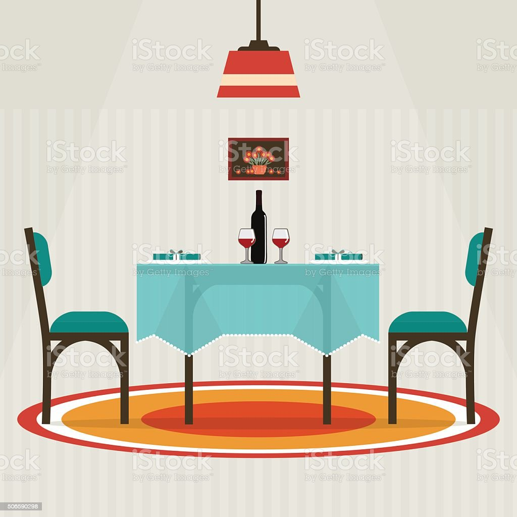 Flat style table for two vector art illustration