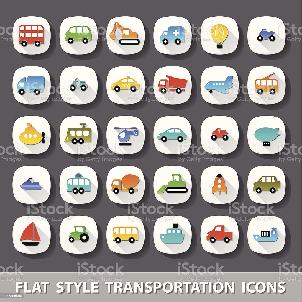 Flat style transportation icons royalty-free stock vector art