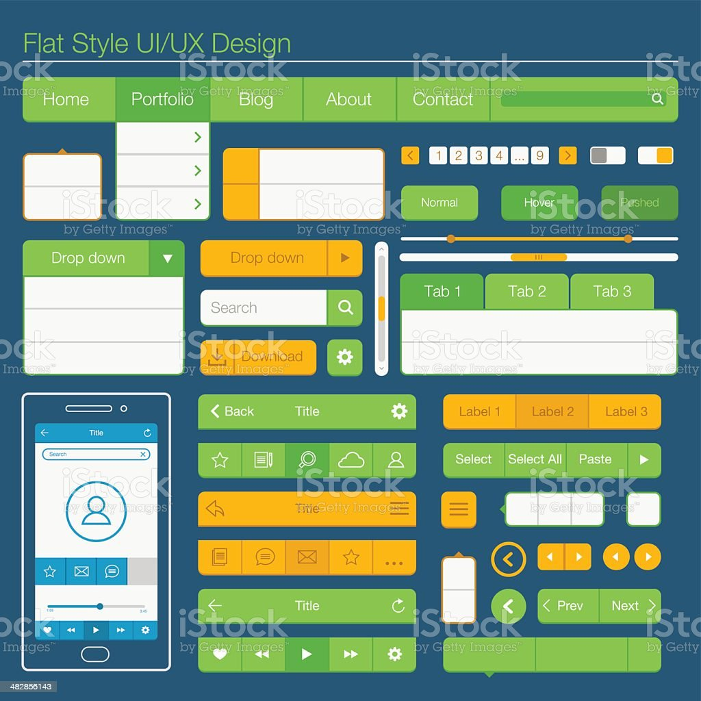 Flat style UI/UX design royalty-free stock vector art
