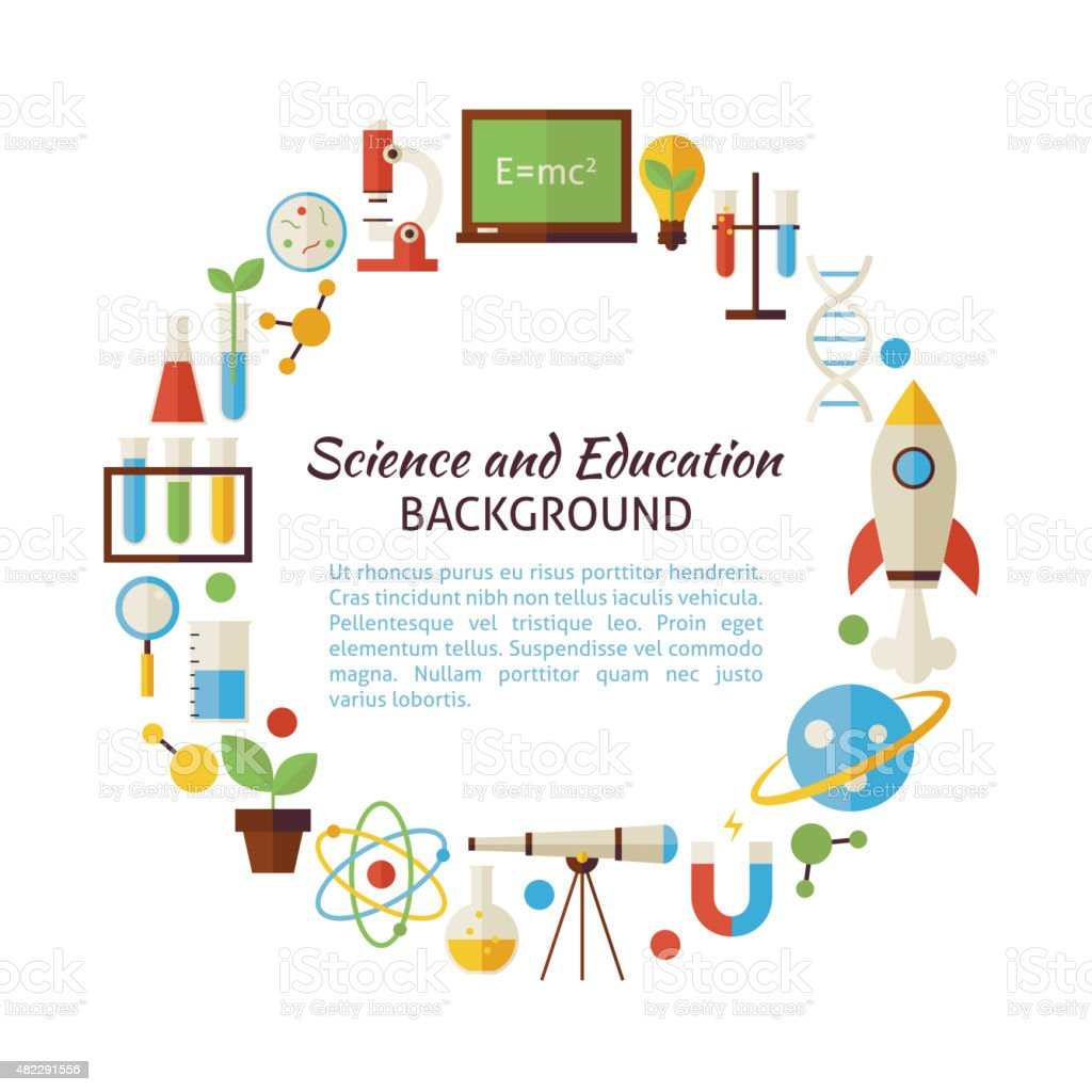 Flat Style Vector Circle Template Collection of Science and Educ vector art illustration
