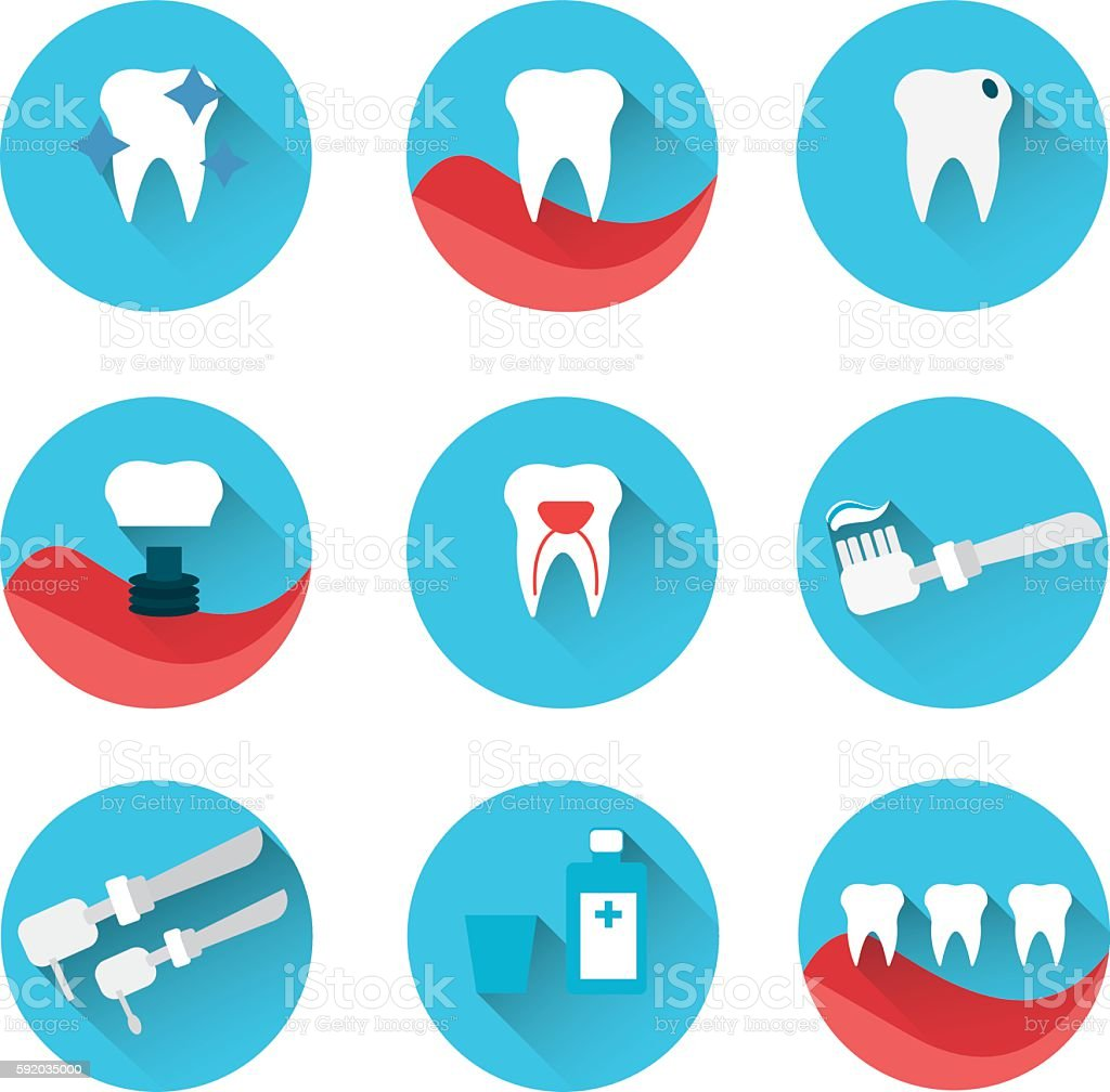 Flat style vector dental icons set on colorful web buttons vector art illustration