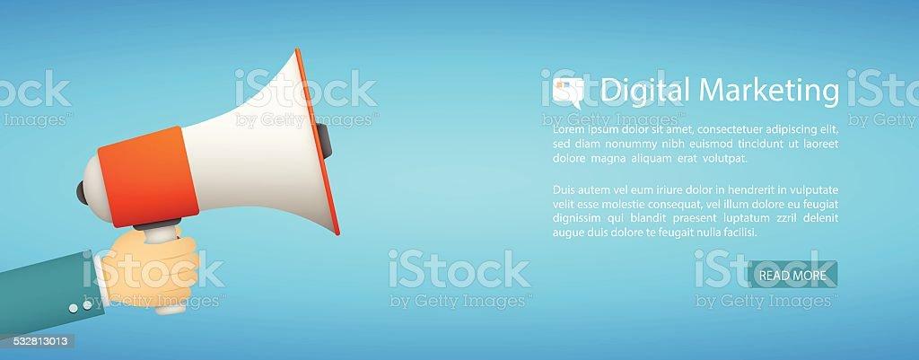 flat style web banner, digital marketing vector art illustration