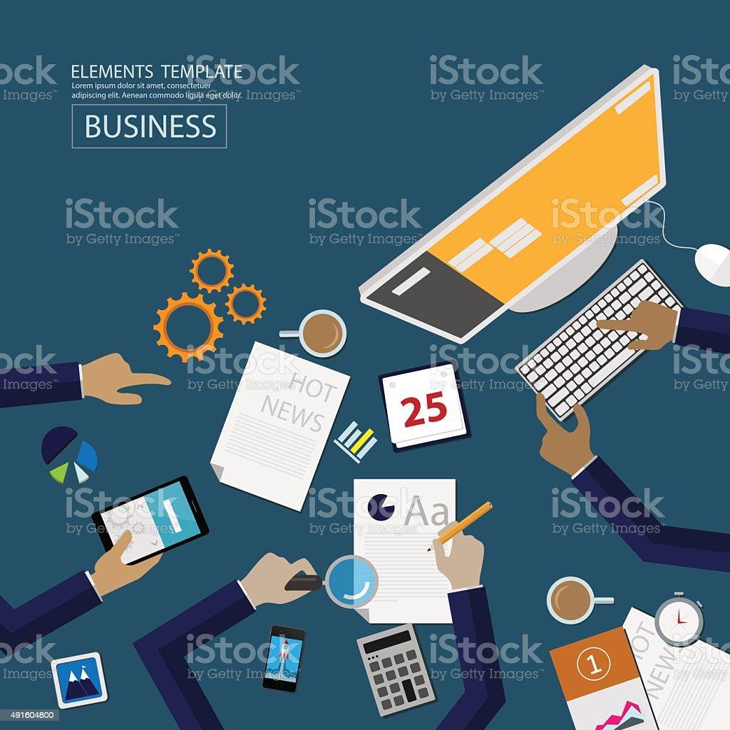 flat style web banner set. digital marketing vector art illustration