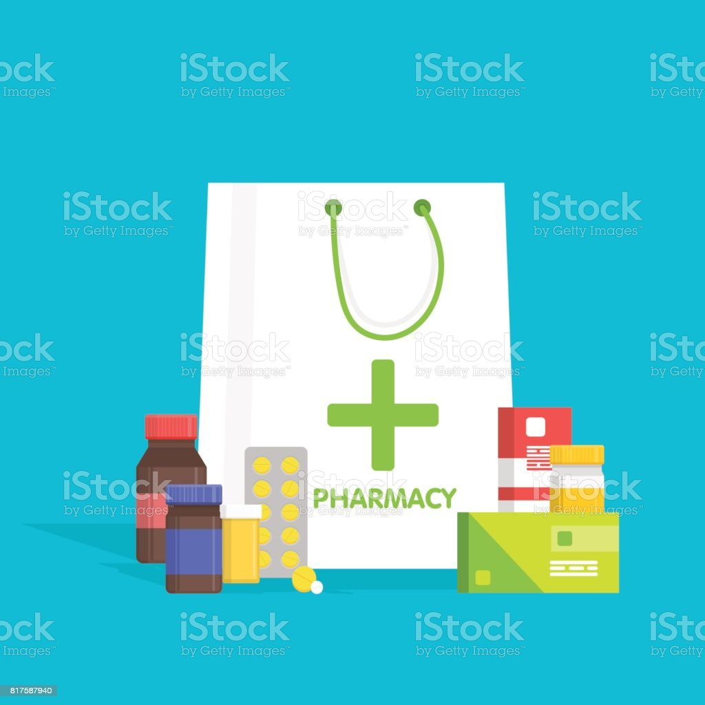 Flat style white shopping bag with different medical pills and bottles, healthcare pharmacy, drug store. Vector illustration vector art illustration