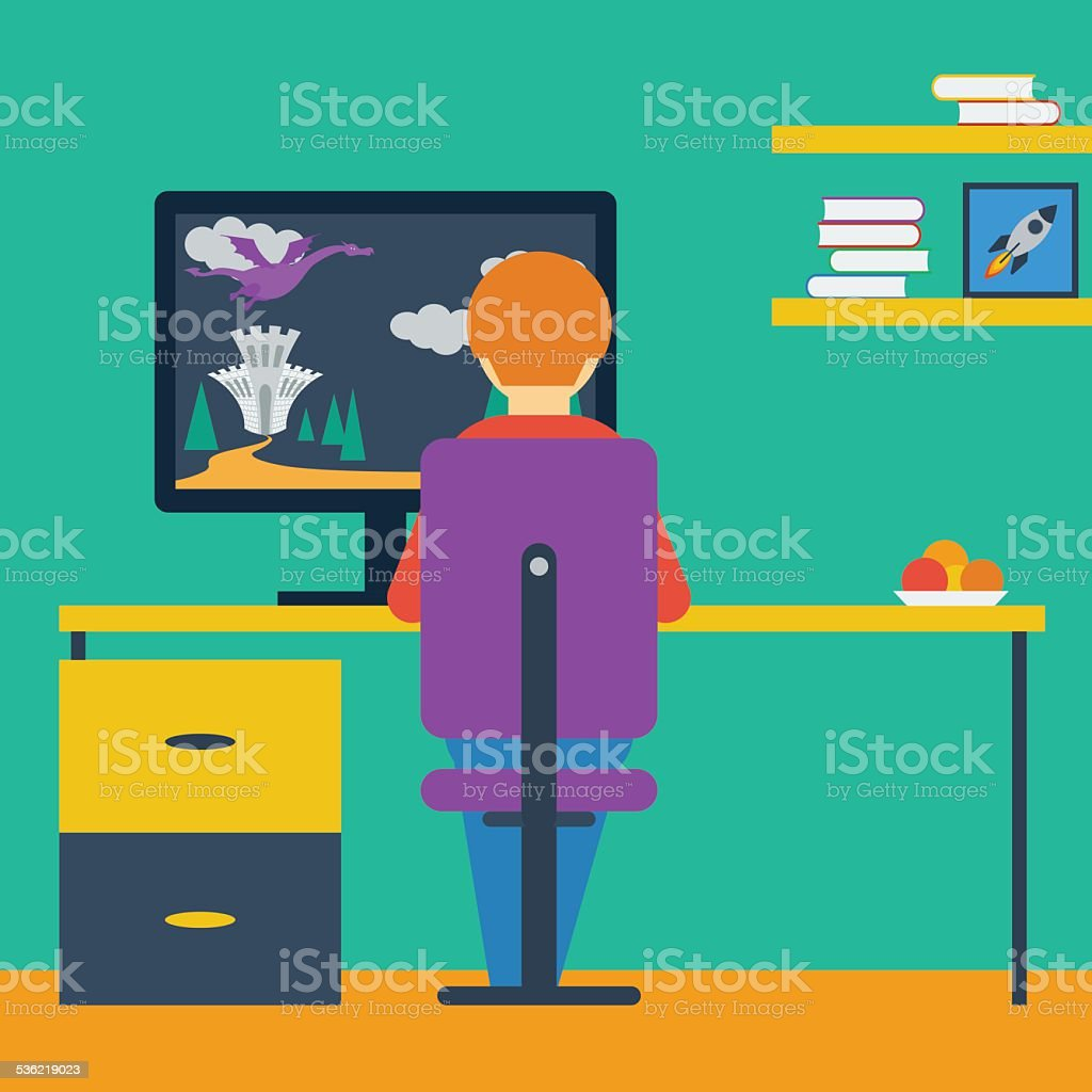 flat style with boy playing on the computer in game vector art illustration