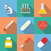 Flat style with long shadows, medicine illustrations icons set.