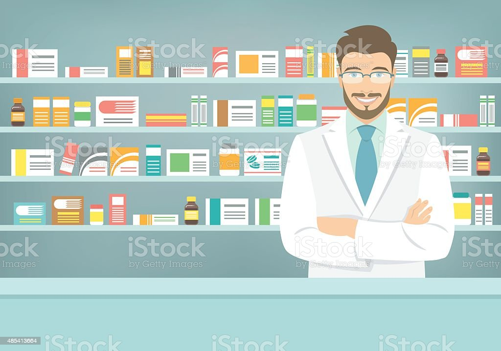 Flat style young pharmacist at pharmacy opposite shelves of medicines vector art illustration