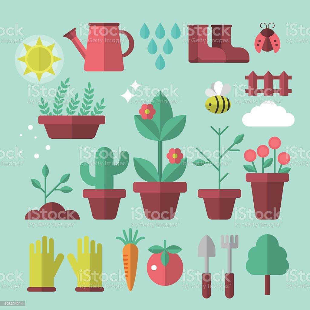 Flat stylish icons for gardening concept vector art illustration