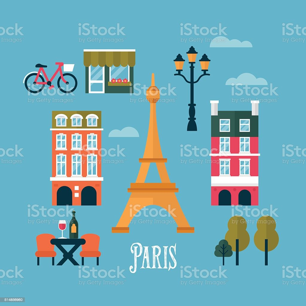 Flat stylish icons for Paris, France. Travel and tourism infographic vector art illustration