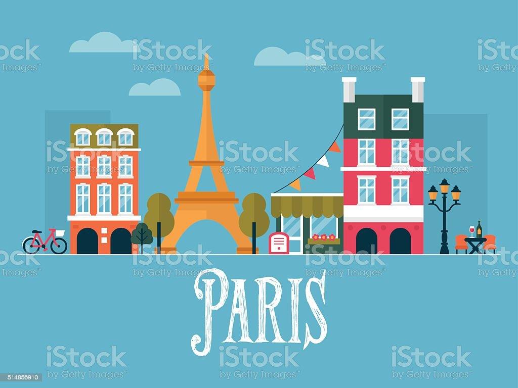 Flat stylish vector illustration for Paris, France. vector art illustration