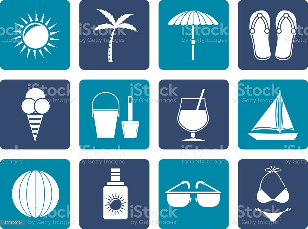Flat Summer, Holiday and beach objects vector art illustration