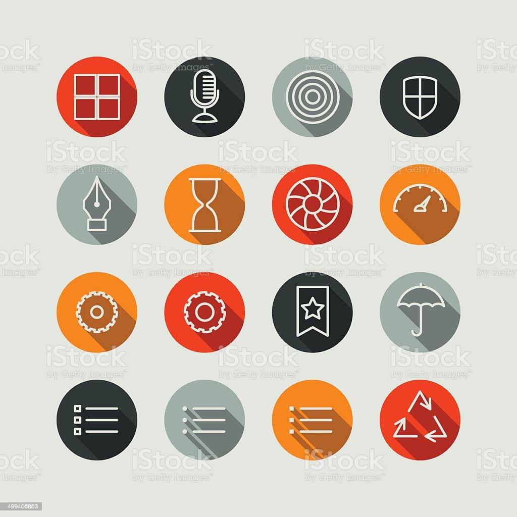 Flat Superlight Interface Icon Set vector art illustration