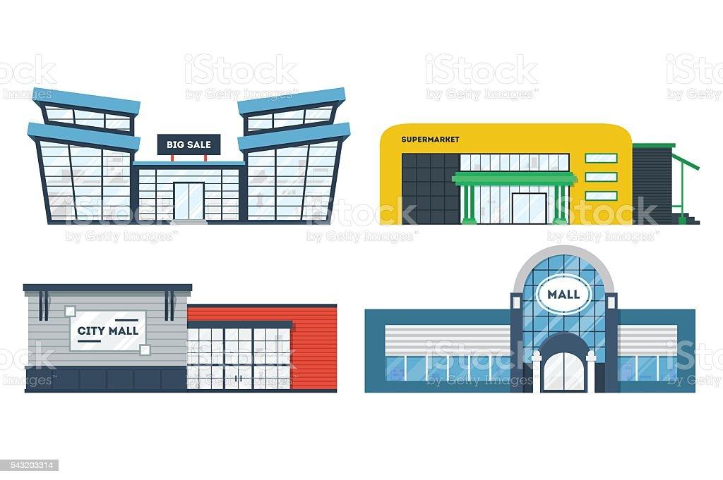 Flat supermarket buildings set vector art illustration