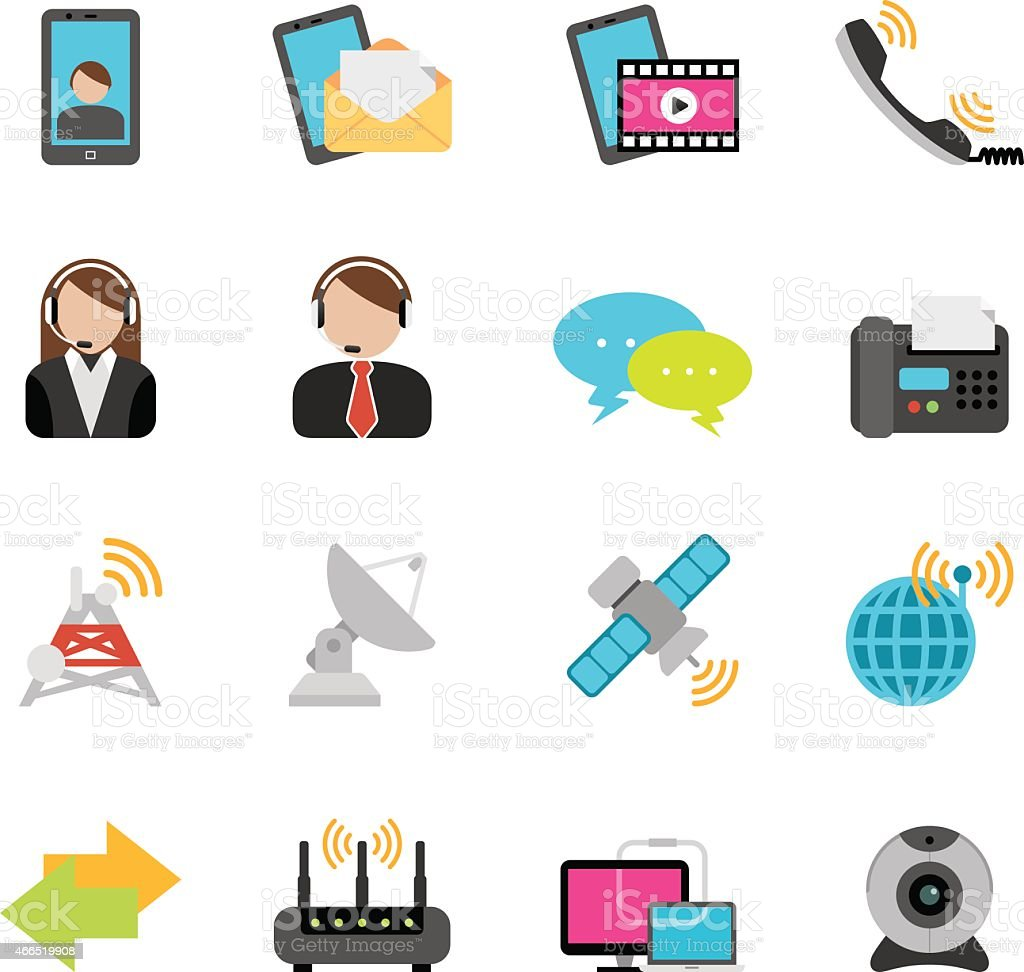 Flat Telecommunication and Networking icons | Simpletoon series vector art illustration