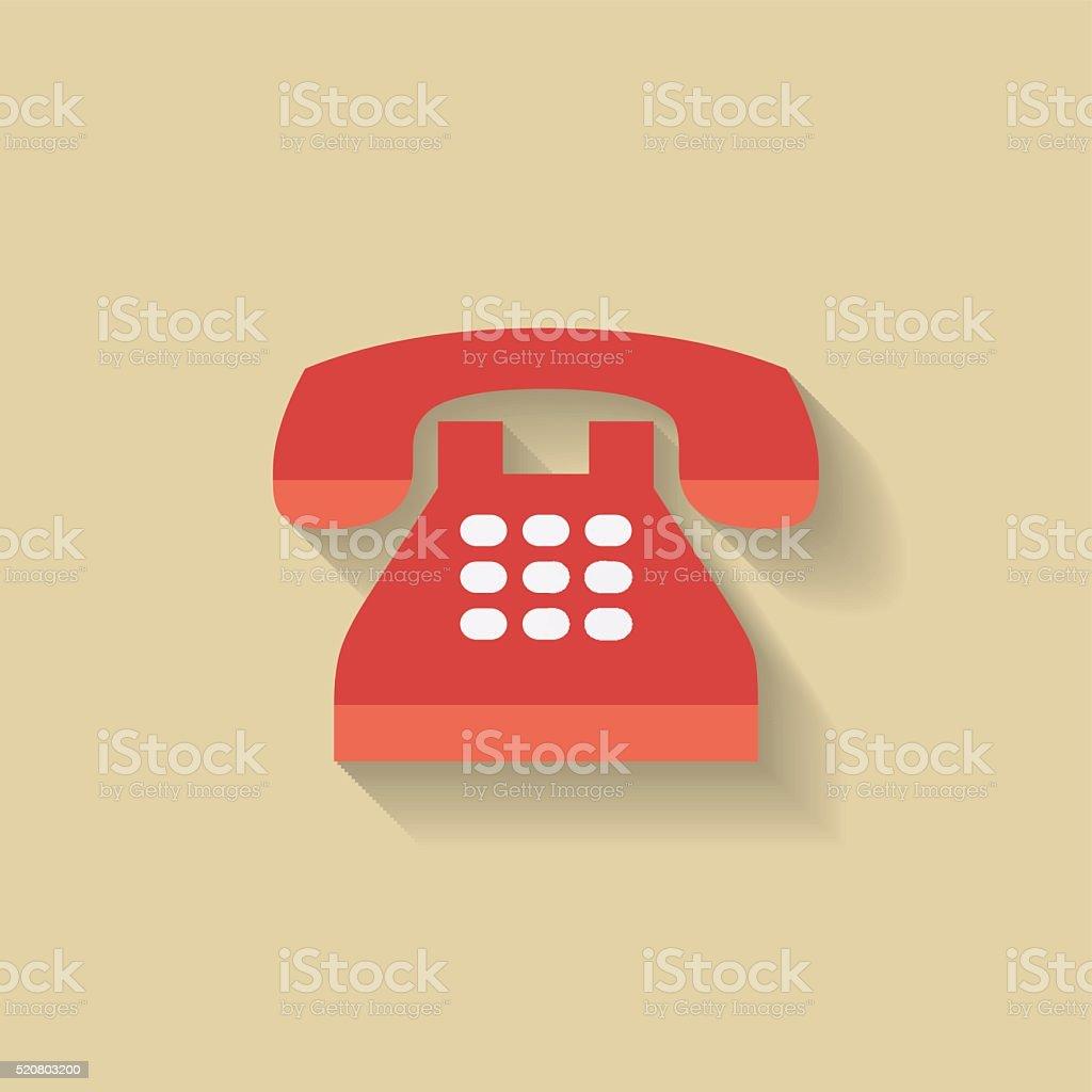 Flat Telephone Icon. Red Retro phone. vector art illustration