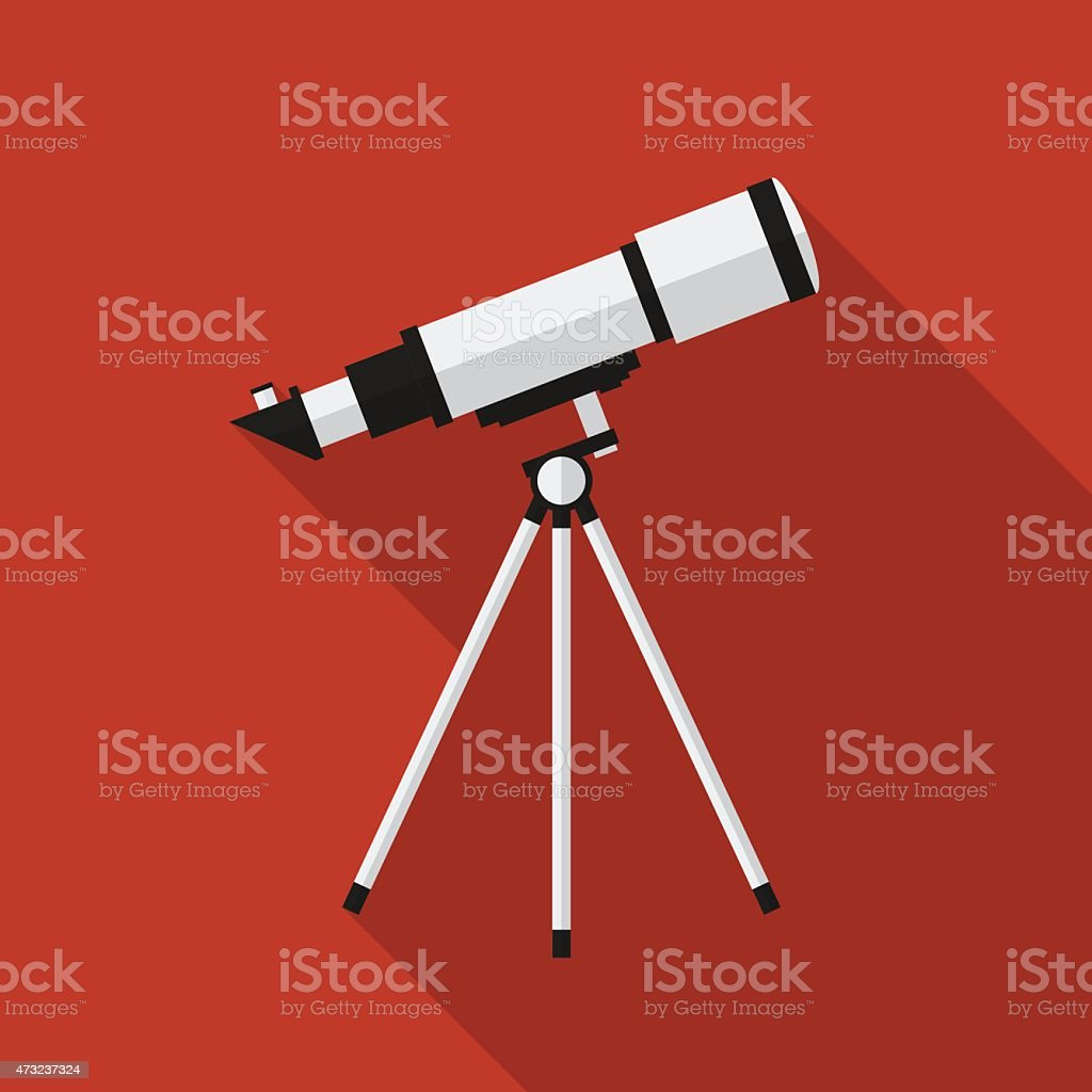 Flat telescope with long shadow. Vector icon vector art illustration
