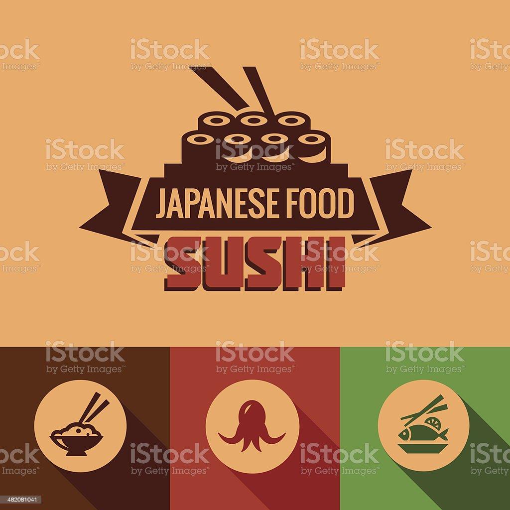 flat template of sushi bar menu vector art illustration