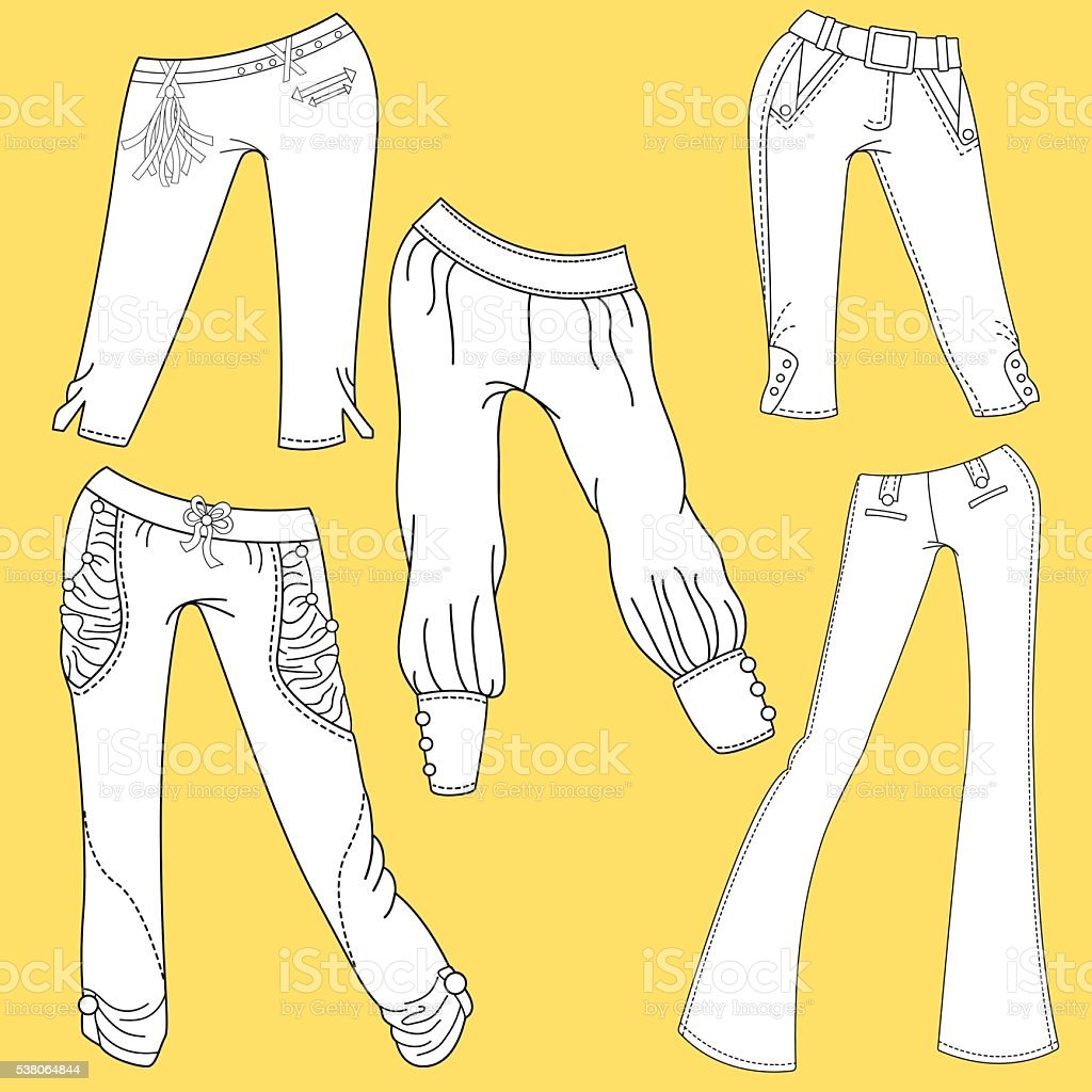 Flat template sketches of different denim and jeans clothes vector art illustration