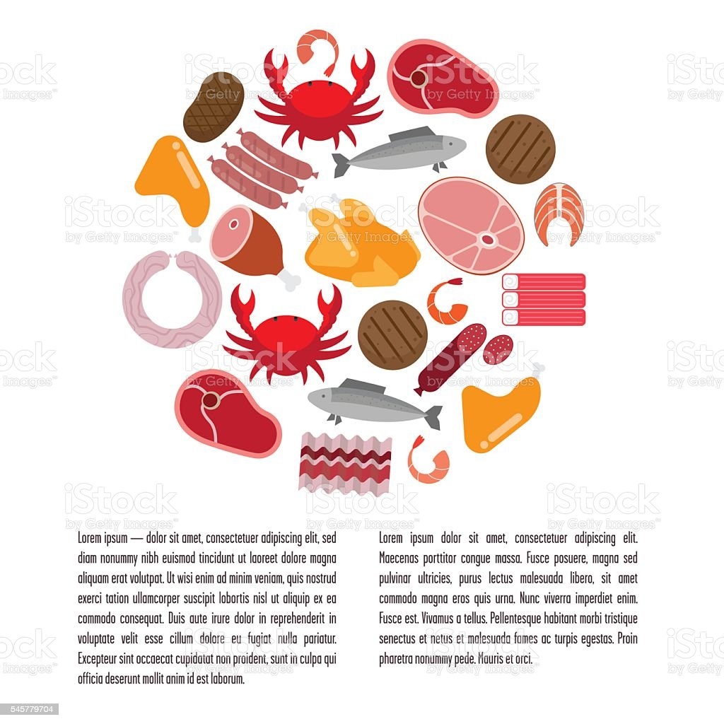 Flat template with meat and fish. vector art illustration