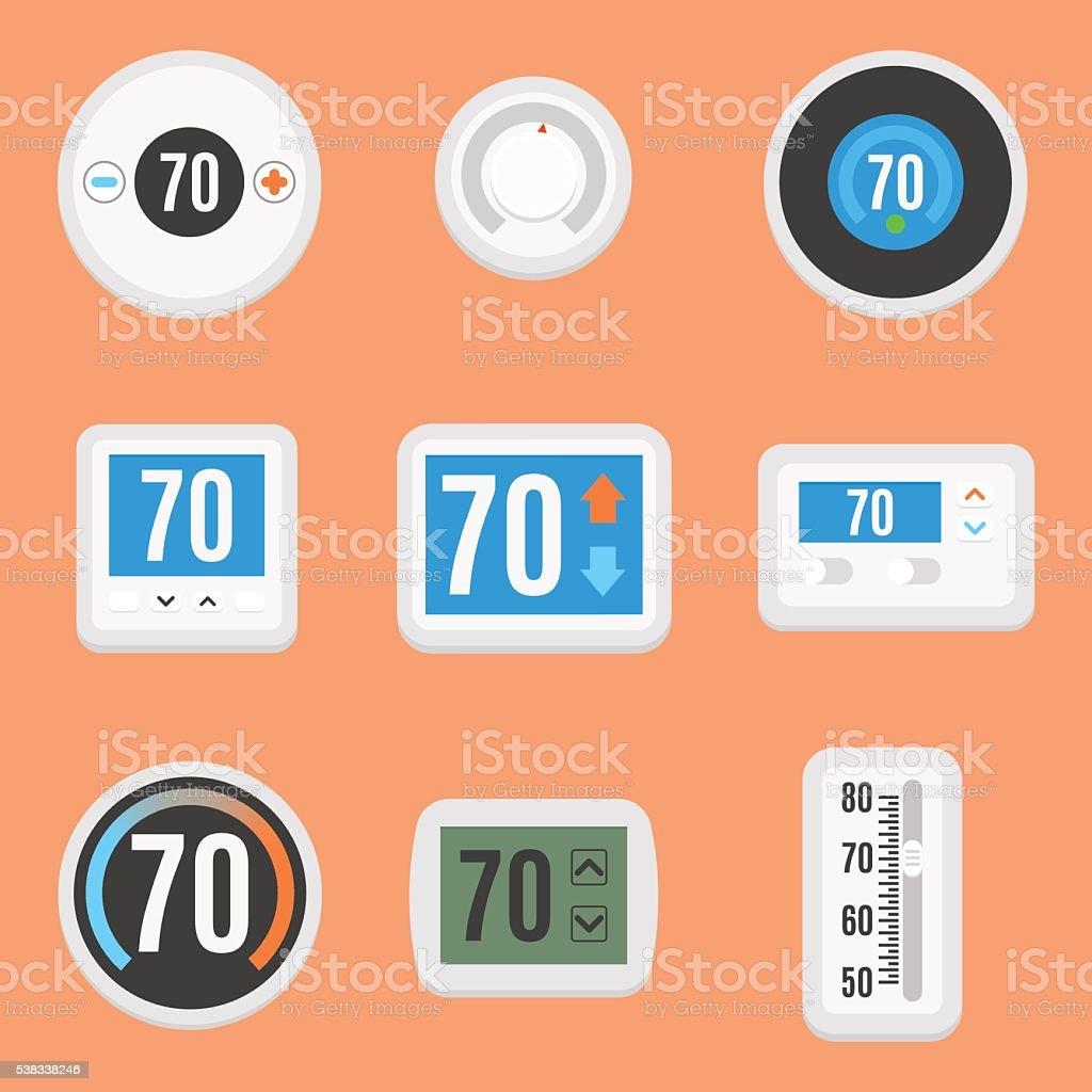 Flat thermostats set vector art illustration