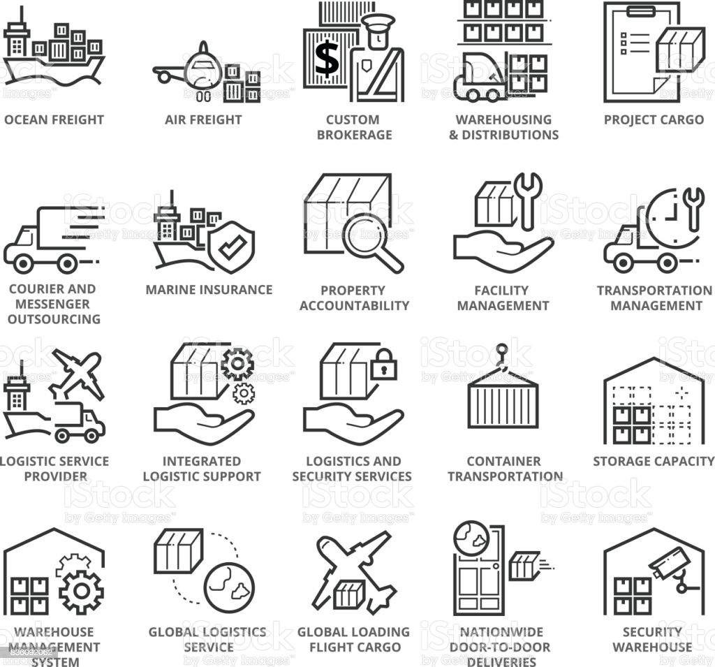 Flat thin line Icons set of International Logistic vector art illustration