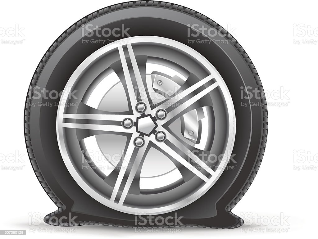 flat tire vector art illustration