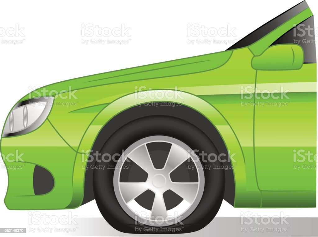 Flat tire vector art illustration