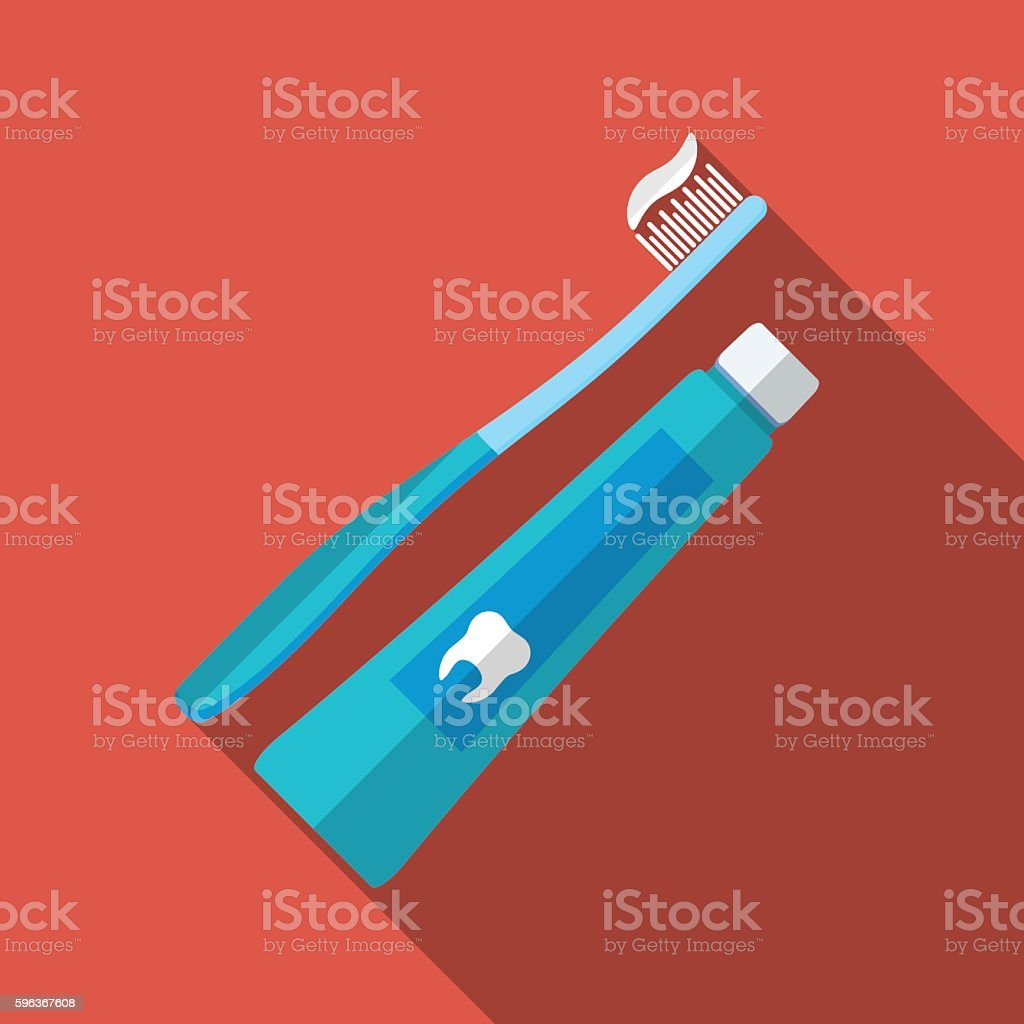 Flat tooth brush and paste icon, long shadow, vector illustration vector art illustration
