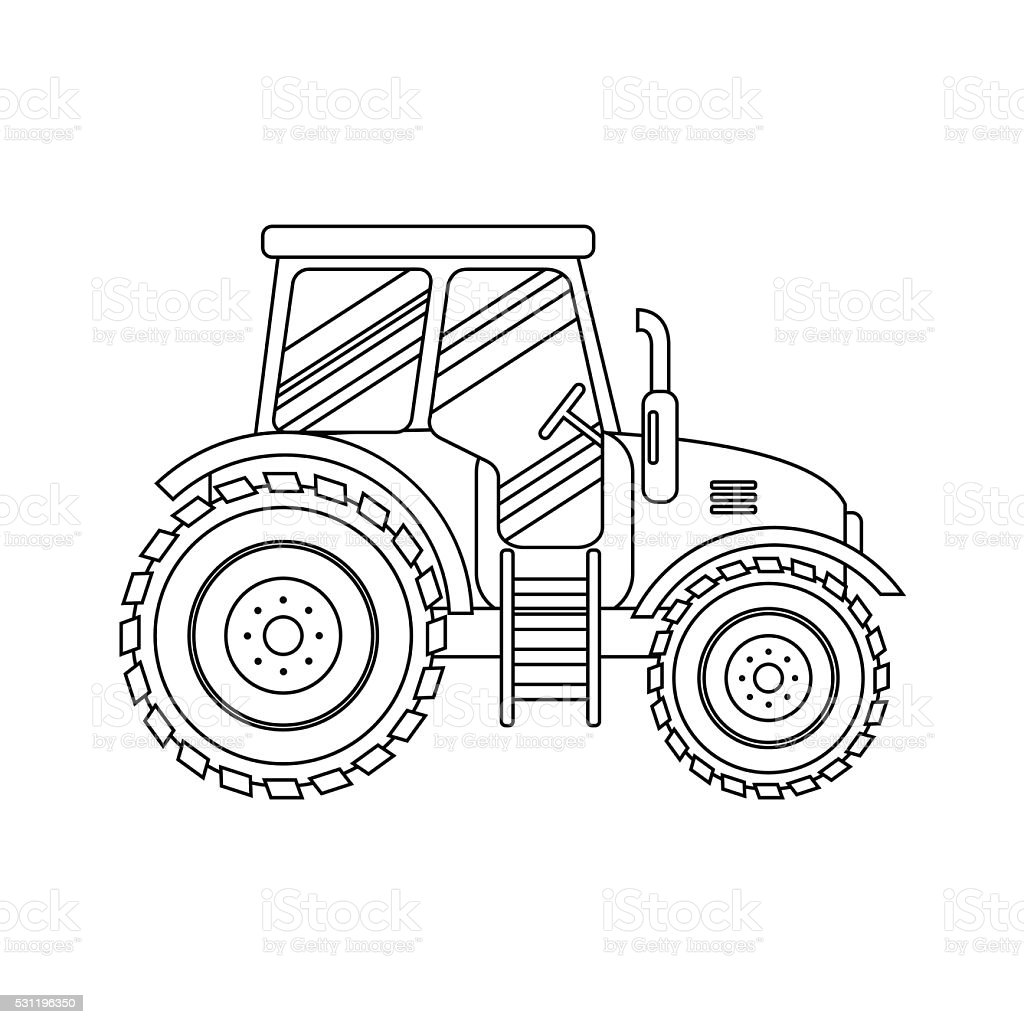 Flat tractor icon on white background. Agricultural transport for farm. vector art illustration