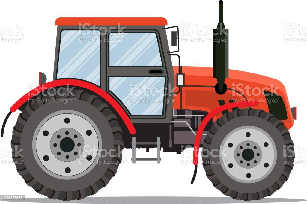 Flat tractor on white background. vector art illustration