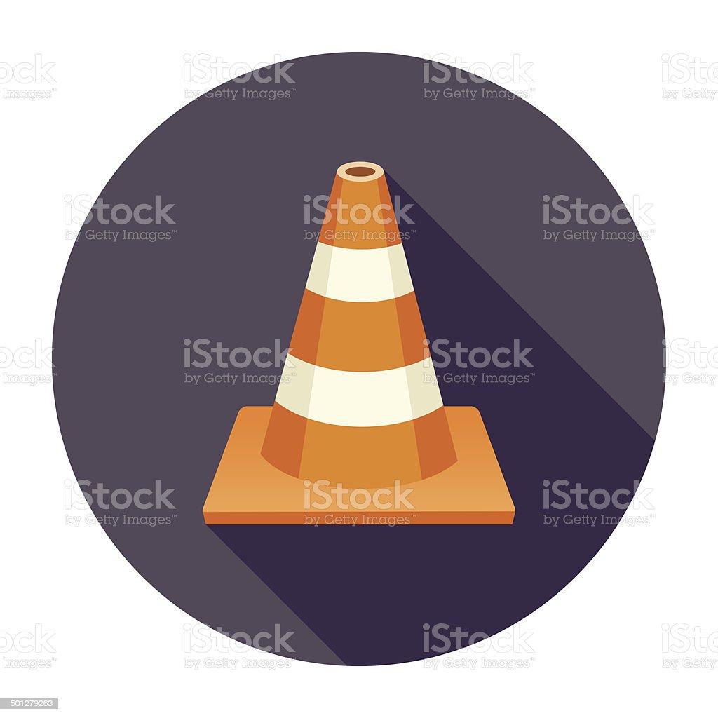 Flat Traffic Cone Icon vector art illustration