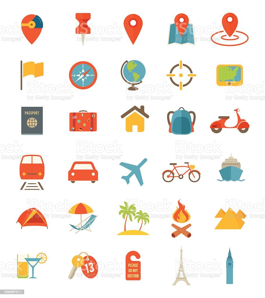 Flat Travel Icons vector art illustration