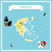 Flat treasure map of Greece.