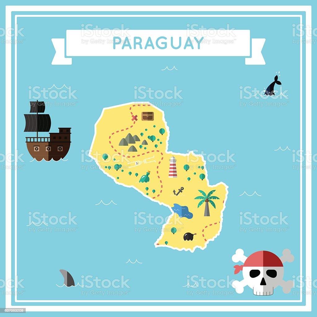 Flat treasure map of Paraguay. vector art illustration