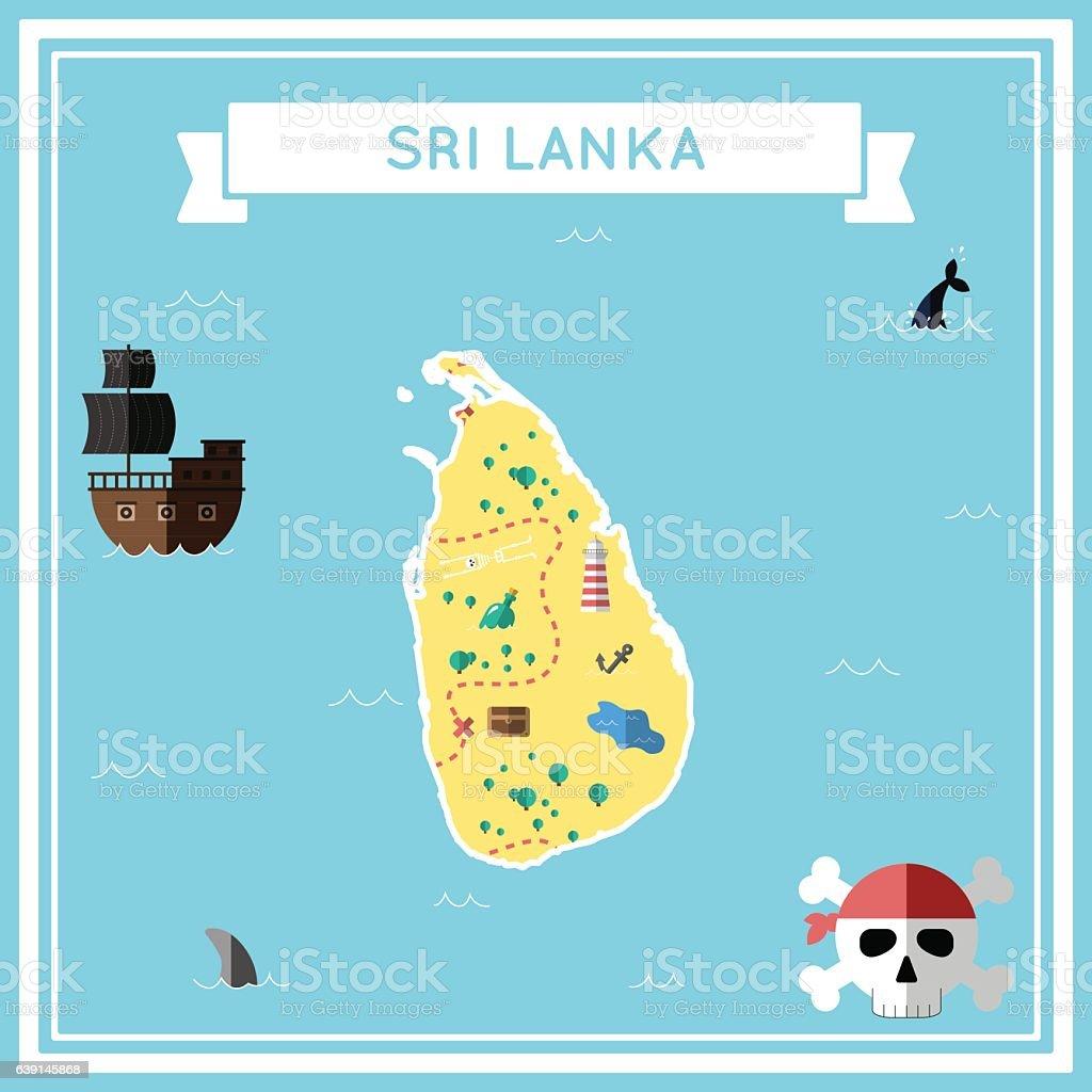 Flat treasure map of Sri Lanka. vector art illustration