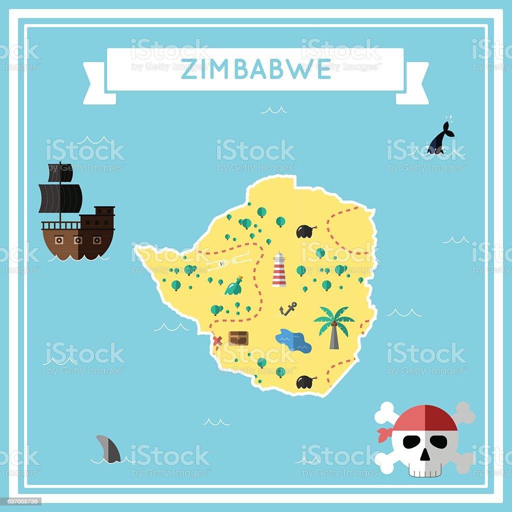 Flat treasure map of Zimbabwe. vector art illustration