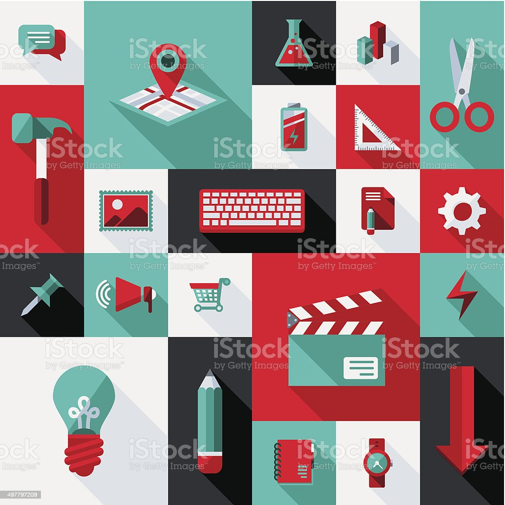 Flat UI Design Elements vector art illustration