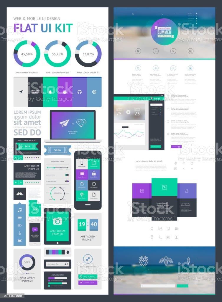 flat UI kit for web and mobile, UI design, page vector art illustration