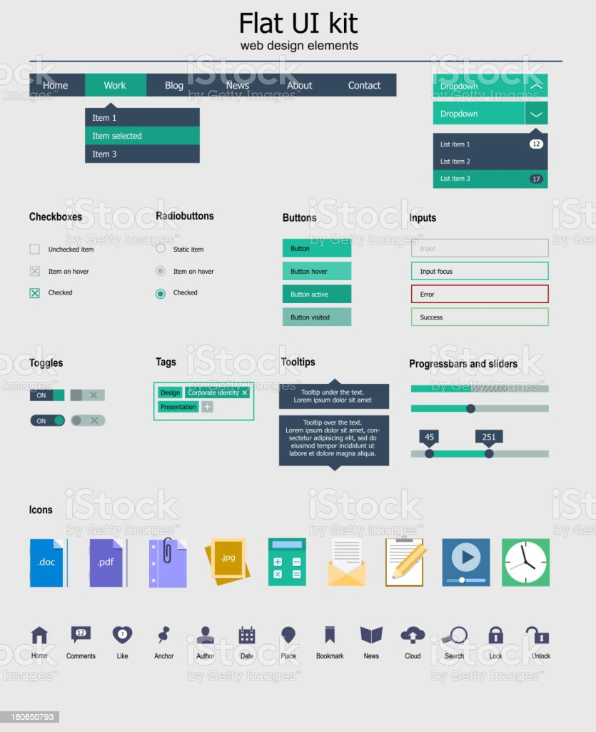 Flat UI kit with various colored icons vector art illustration