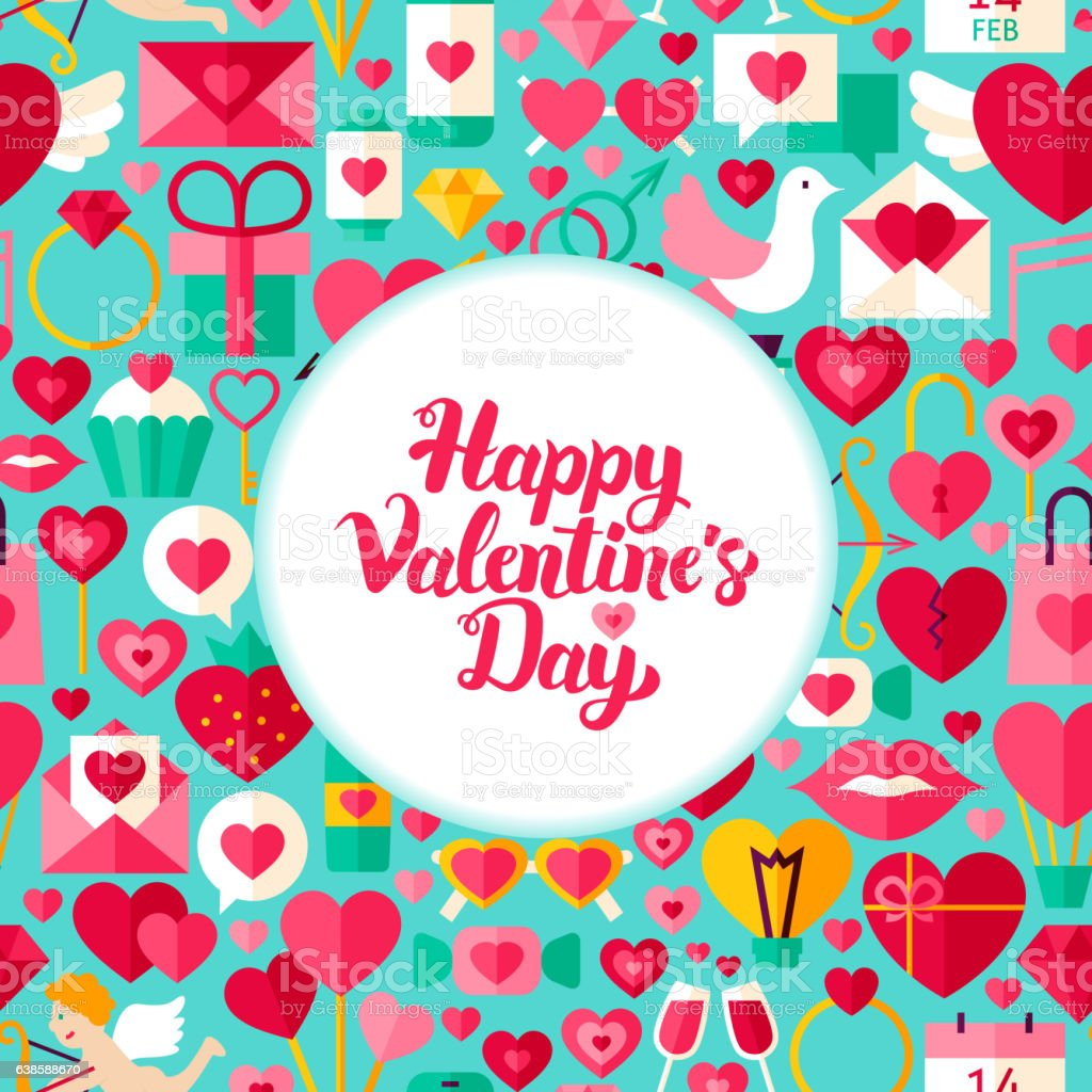 Flat Valentines Day Greeting vector art illustration