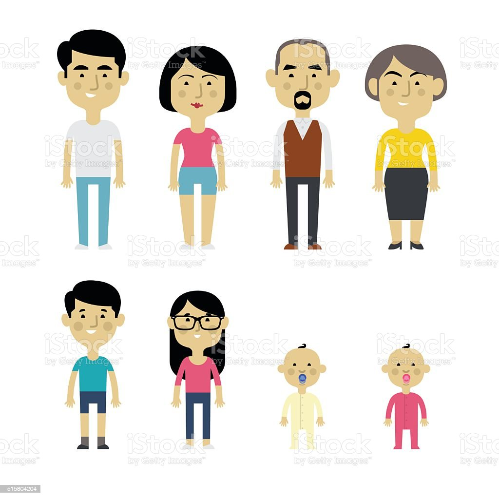 Flat vector asian family. vector art illustration