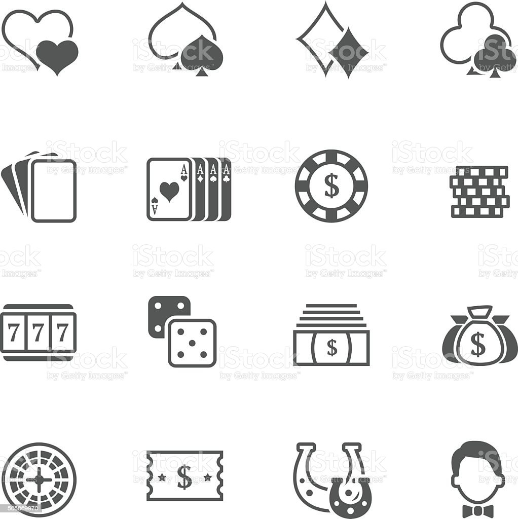 Flat vector casino stuff icons vector art illustration