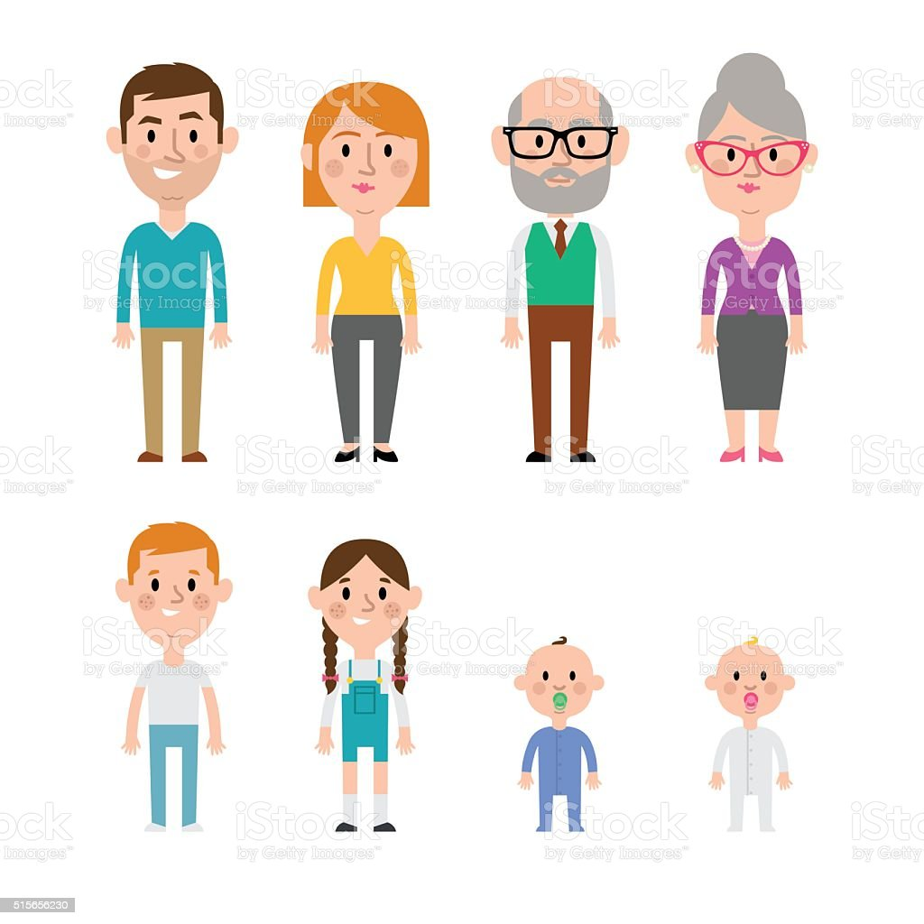 Flat vector caucasian family vector art illustration