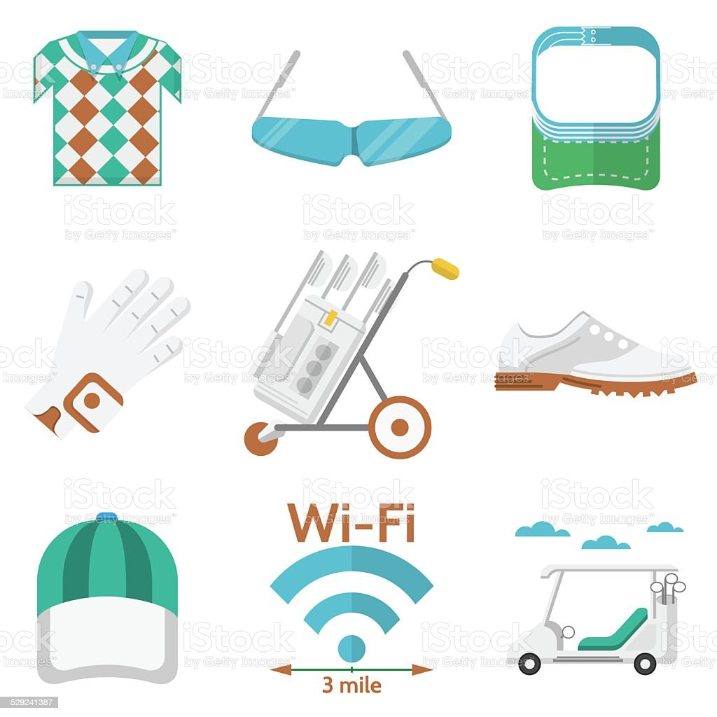Flat vector colored icons for golf vector art illustration