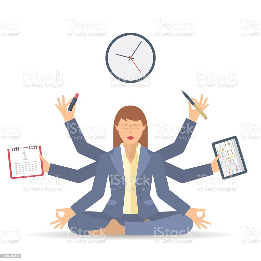 Flat vector concept isolated illustration. Business multitasking time management vector art illustration