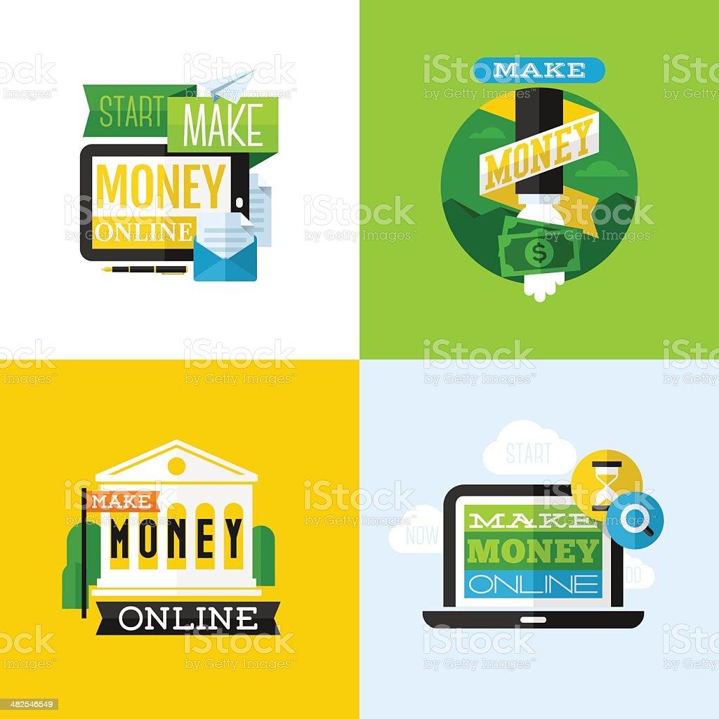Flat vector design of make money concept royalty-free stock vector art