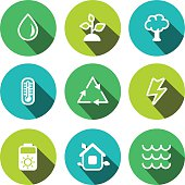 Flat vector eco multicolored icons set