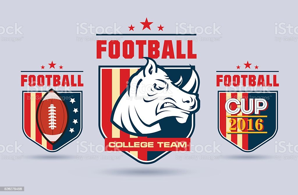 Flat vector football or rugby logo set for sport team. vector art illustration