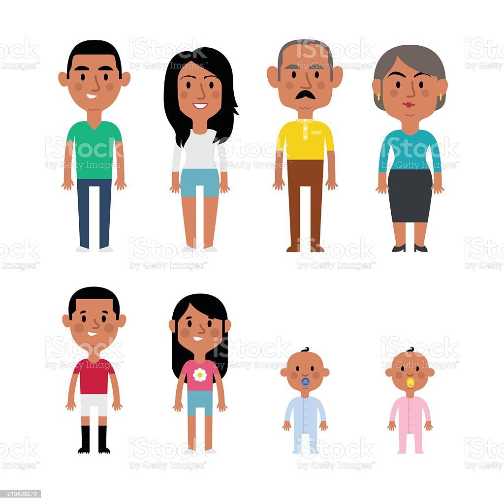Flat vector hispanic family. vector art illustration